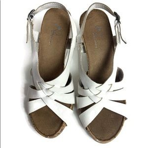 Women's A2 Aerosoles White Cork Wedge Sandals sz7